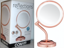 New! Conair LED 1X/5X Rose Gold Makeup Mirror in Orland Park, Illinois