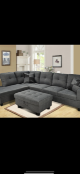 NEW! QUALITY GREY SOFA CHAISE SECTIONAL W/ XL OTTOMAN! in Camp Pendleton, California