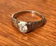 Antique White Gold 1/3 Carat Mine Cut Diamond Ring in Clarksville, Tennessee