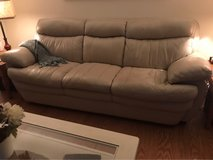 "Beutiful Cream Leather Sofa 90"" in Tinley Park, Illinois"