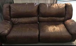 Make offer! Leather Dual Reclining Couch, Brown in Fort Campbell, Kentucky