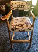 High Bar or Pool Chair reupholstered Very Rare Vintage Barkcloth Cowboys in Chicago, Illinois