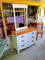 1880's honey tiger oak dresser with rack in Camp Lejeune, North Carolina