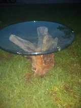 Unique Old Antique Driftwood Stump Struck By Lightning with Glass Top End Table in Baytown, Texas