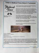 2 tickets to Medieval times in Naperville, Illinois