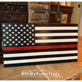 Thin Red Line American Rustic Wood Flag in Clarksville, Tennessee