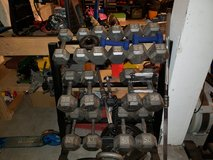 Hex Dumbell Set with Rack 15 - 50 lbs in Camp Pendleton, California