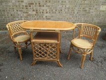 CANE SPACE SAVING TABLE AND 2 CHAIRS in Lakenheath, UK