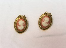 New Gold Tone Cameo Stud Orange Coral Earrings Drop Dangle Hook Antique Style in Kingwood, Texas