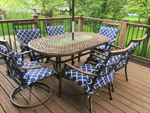 Patio Table, umbrella, base, cushions in Naperville, Illinois