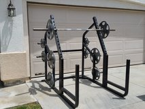 Gym rack by cybex and weights by Hampton (delivery options available) in Camp Pendleton, California