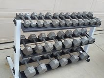 gym hex dumbbells weights with rack in Camp Pendleton, California