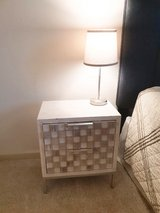 Side table white and pearl with lamp in Fairfax, Virginia