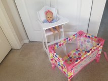 Baby doll highchair and crib in Oswego, Illinois