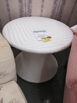 """Round Plastic """"Rattan"""" Table by Front Gate in Bolingbrook, Illinois"""