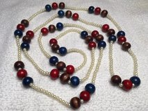 Vintage Necklace Long Blue Red Brown Wooden Beads Small White Pearl Beads Lightweight Ready to W... in Kingwood, Texas