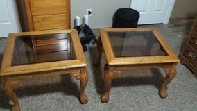 Two glass top end tables in Fort Polk, Louisiana