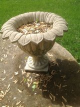 Pair of Floral designed Cement Urns in Aurora, Illinois
