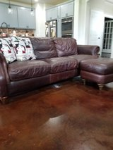 Natural leather club sofa w/ ottoman in Fort Hood, Texas