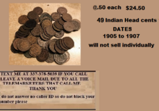 49 Indian Head cents sold together @ .50 each for $24.50 in Fort Polk, Louisiana
