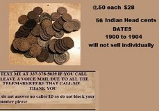 56 Indian Head cents sold together @ .50 each for $28.00 in Fort Polk, Louisiana