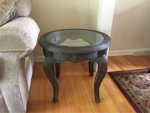 Pencil Reed Bamboo Glass Top End Tables in Palatine, Illinois