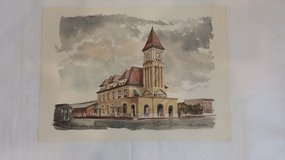 Print - C.B.& Q Station - Rock Island, ILL in Chicago, Illinois