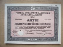 78-Year Old German  Stock Certificate in Stuttgart, GE
