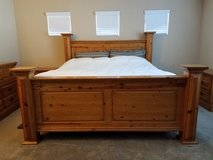 King bedroom 6 pc set (solid pine wood) in Fairfield, California