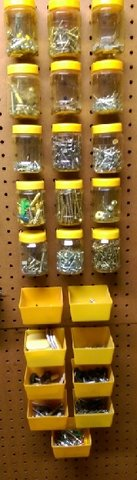 Peg Board Containers (24) filled with tons of Nails, Screws, etc. REDUCED PRICE in Houston, Texas