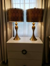 Set of 2 Metal Art Gold Table Lamps in Chicago, Illinois