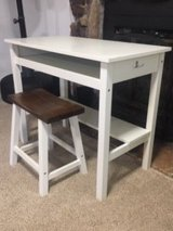 White desk and stool in Plainfield, Illinois