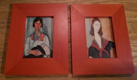 ART – Two Pictures of Exotic Ladies in Red Frames in Houston, Texas