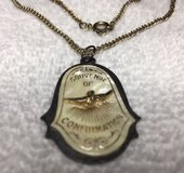 Confirmation Pendant on Chain Vintage Gold Colored Metal with Mother of Pearl on Pendant in Kingwood, Texas