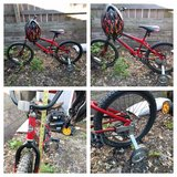 Boys bicycle with training wheels in Naperville, Illinois