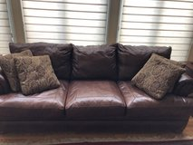Leather Couch with Pillows, like new in Glendale Heights, Illinois