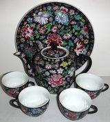 Hand Painted Tea Set - Teapot - 4 cups + Tray in Bolingbrook, Illinois