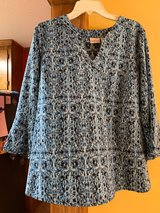 Women's Kim Richards Top. Blue with 3/4 bell sleeves in Camp Lejeune, North Carolina