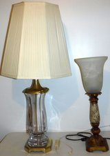 Lamp w/Glass Shade -OR- Vintage Crystal Lamp in Naperville, Illinois