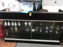 locking glass cabinet with rear drawers and shelves in Orland Park, Illinois