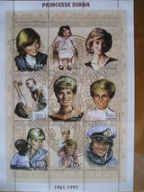 Princess Diana Commemorative Postage Stamps from Chad -250 franc in Aurora, Illinois
