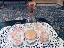 Pink Depression Glass Schnapps Set in Ramstein, Germany