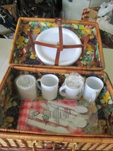 Wicker picnic basket with dishes/utensils/tablecloth in Plainfield, Illinois