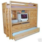 Twin Size Solid Birch Loft Bed W/Trundle, Drawers, Desk, & Tons of Storage Area in Fort Leonard Wood, Missouri