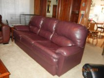 Plush Burgundy Leather Hideabed Couch - Queen in Alamogordo, New Mexico