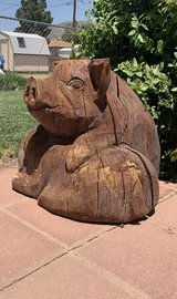 Carved Wood Pig Pals in Alamogordo, New Mexico