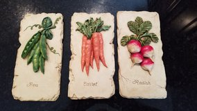 Wall Decor Set of 3 Vegetable Plaques in Chicago, Illinois