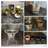 Various gold pots/planters in Chicago, Illinois
