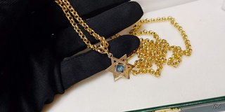 14kt. Yellow Gold Round open link necklace & a Star of David  with a Blue Diamond in Camp Lejeune, North Carolina