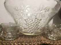 Vintage Glass Punch Bowl Set  Anchor Hocking Grape in Cleveland, Texas
